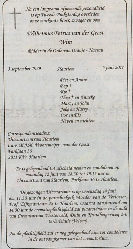 Wim van der Geest overleden.