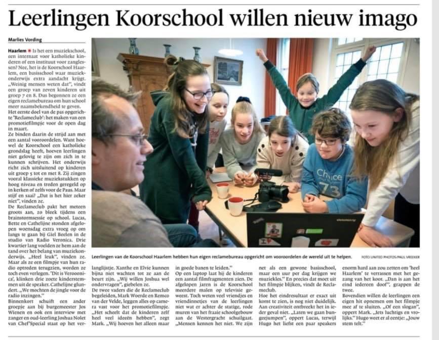 Leerlingen Koorschool willen nieuw imago