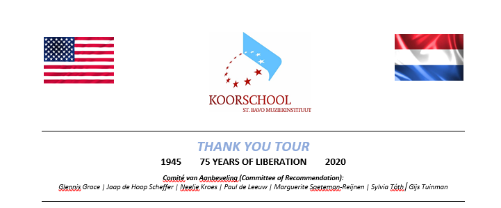 Sponsor de 'Thank You Tour' van het Kathedrale Koor naar de VS in 2020