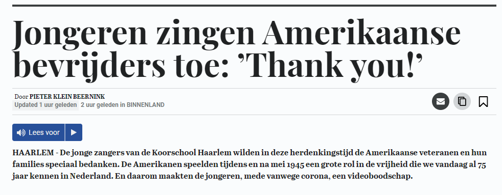Telegraaf Thank You screenshot