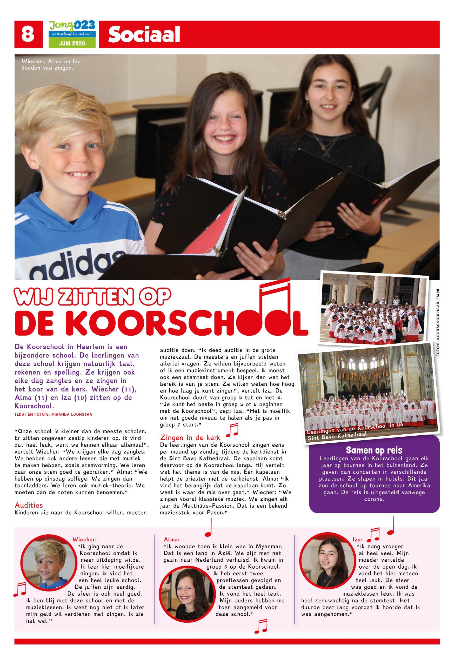 Artikel in Jong023: Wij zitten op de Koorschool!